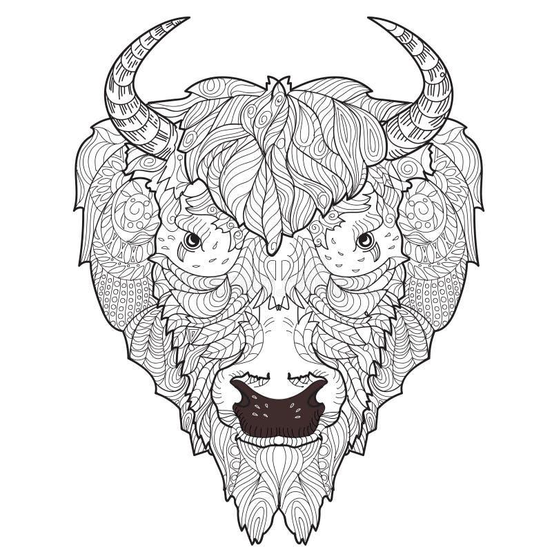 Garabato de la cabeza del bisonte ilustración del vector