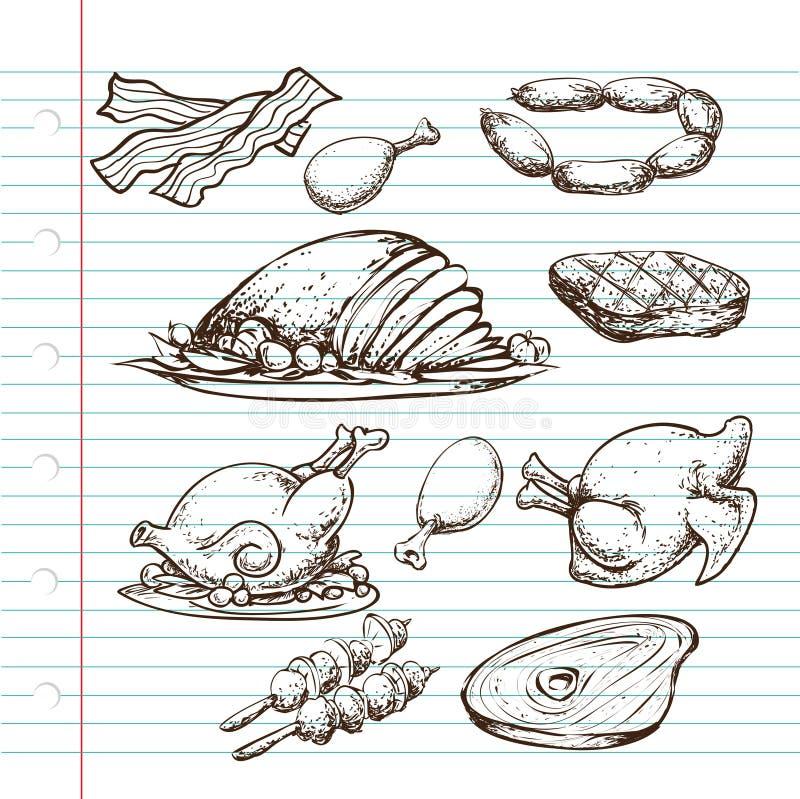 Garabato de la carne stock de ilustración