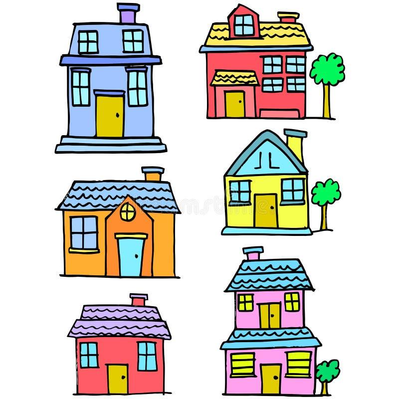 Garabato de la colección determinada del estilo de la casa stock de ilustración