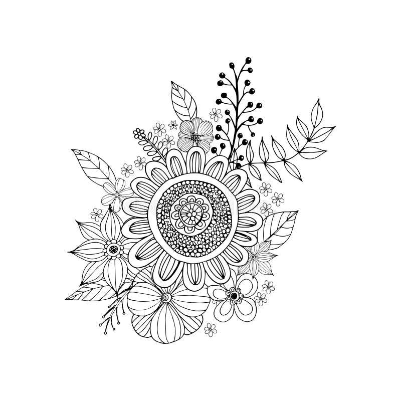 Garabato De La Flor Que Dibuja A Pulso Ilustración del Vector ...
