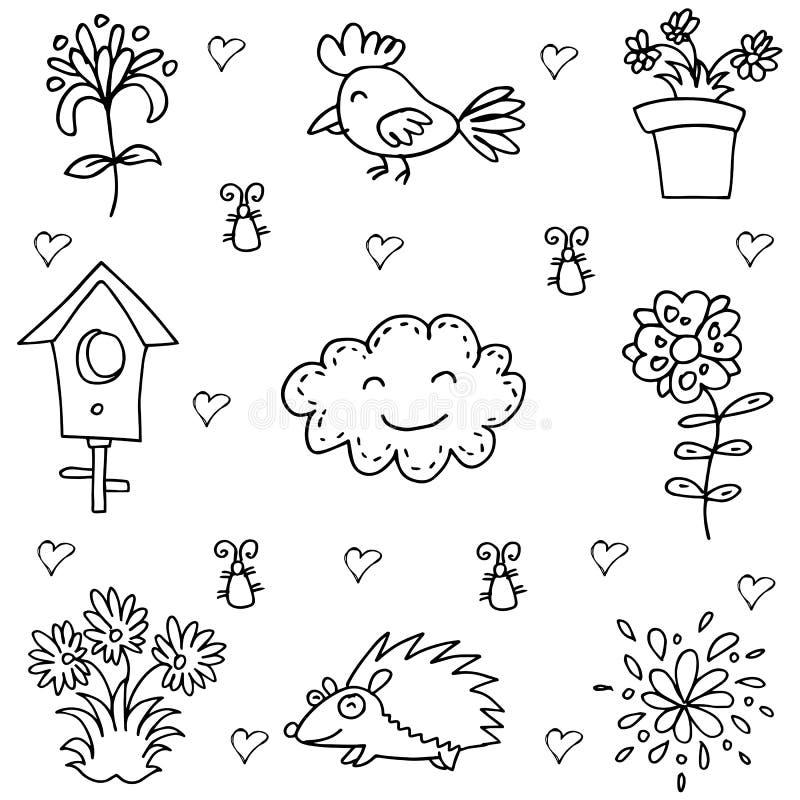 Garabato de la flor y del pájaro de la primavera ilustración del vector