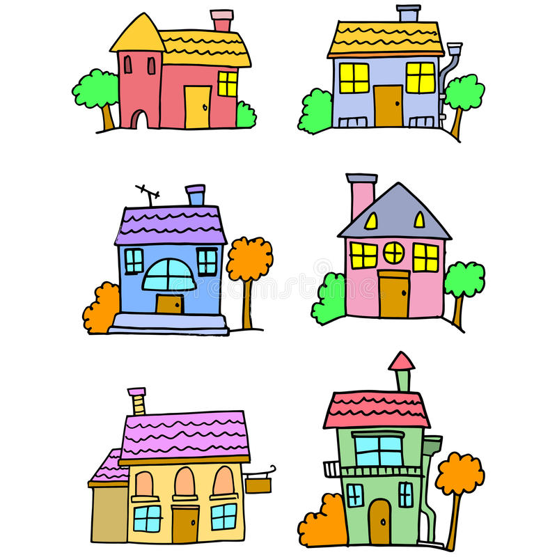 Garabato de la historieta colorida de la casa libre illustration