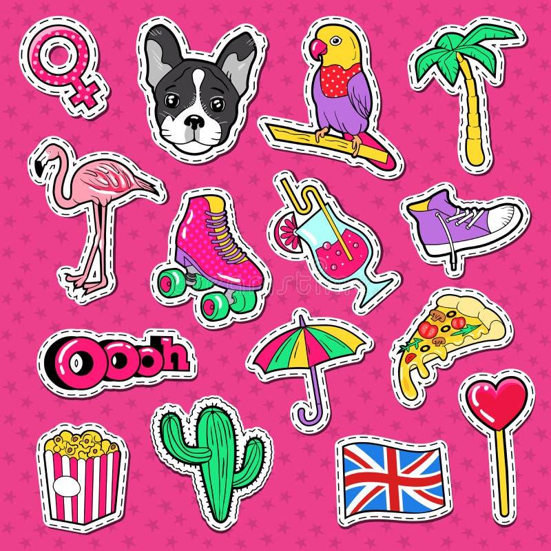 Garabato de las vacaciones de la playa Etiquetas engomadas, insignias y remiendos de la forma de vida de la mujer joven con el pá ilustración del vector