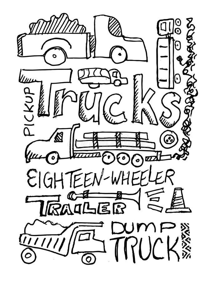 Garabato de los carros ilustración del vector