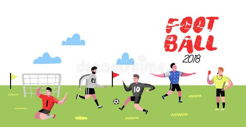 Garabato de los jugadores de la historieta del fútbol Futbolista en uniforme Caracteres del deportista Atletas del deporte que ju ilustración del vector