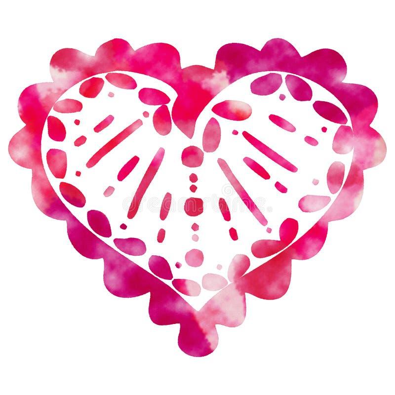 Garabato decorativo rojo del corazón del ` s de la tarjeta del día de San Valentín de la acuarela stock de ilustración