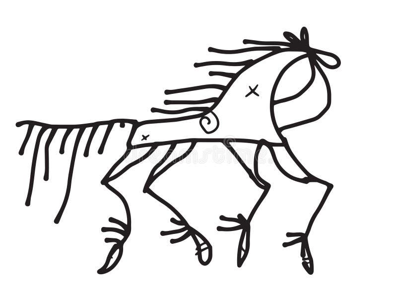 garabato del caballo estilizado en estilo ruso tradicional ilustración del vector