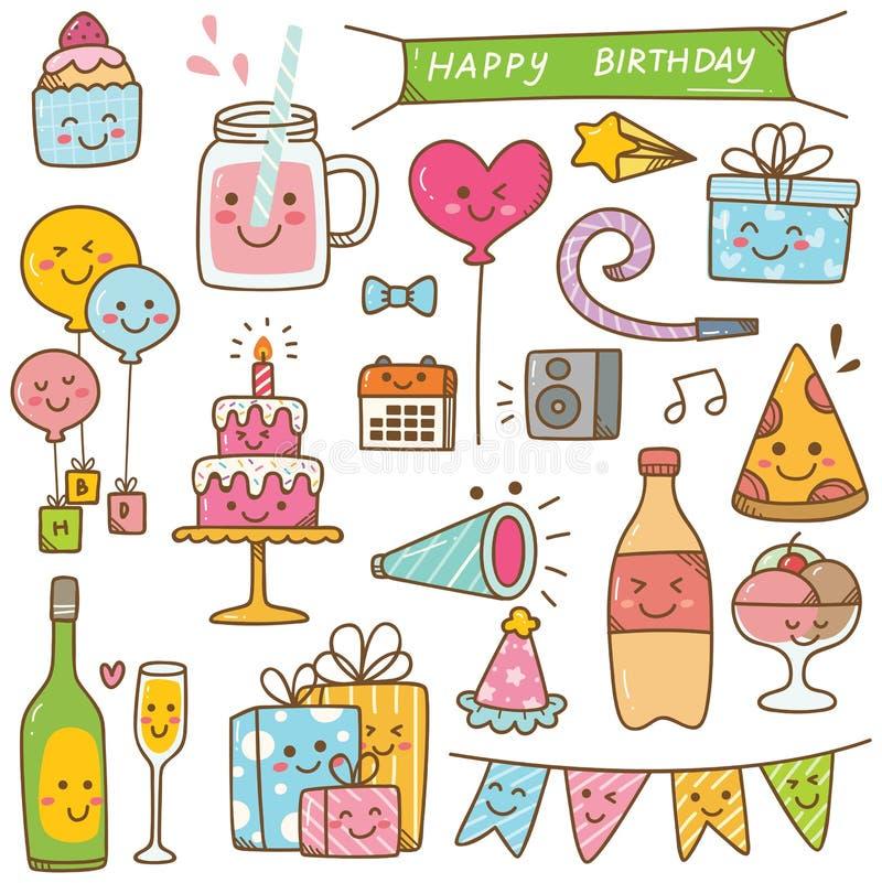 Garabato del cumpleaños del estilo de Kawaii aislado en el fondo blanco ilustración del vector