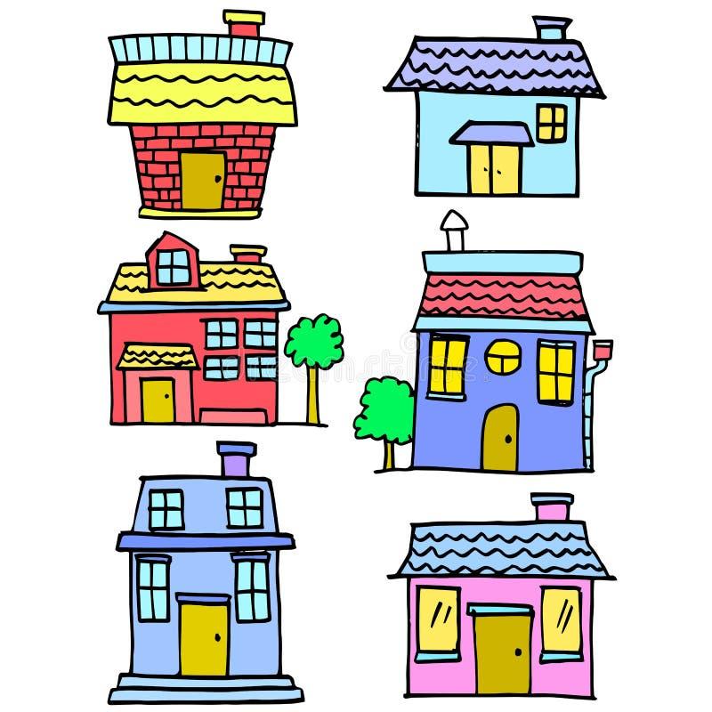 Garabato del diverso diseño de la historieta de la casa ilustración del vector