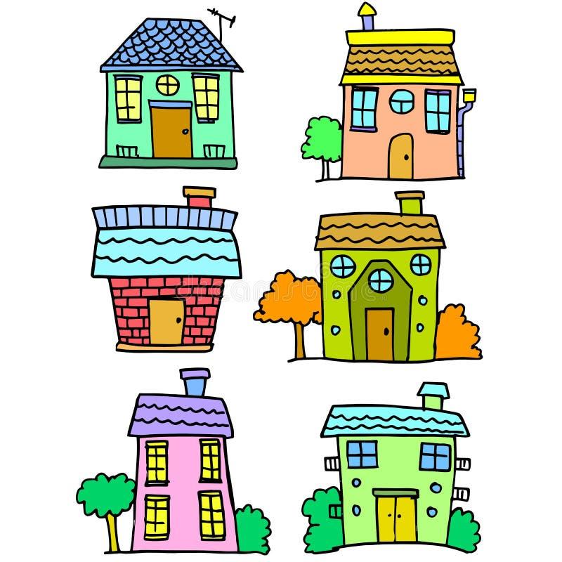Garabato del drenaje colorido de la mano del sistema de la casa ilustración del vector