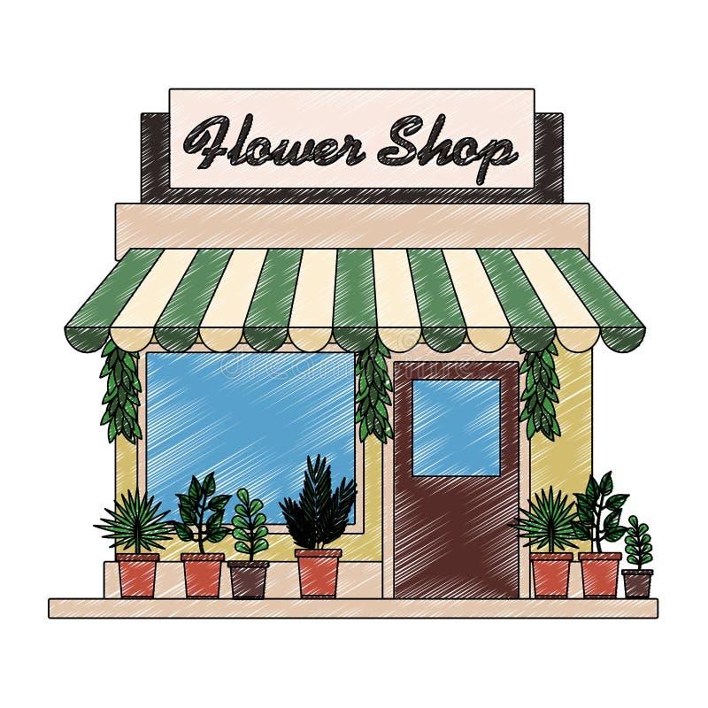 Garabato del edificio comercial de la tienda libre illustration