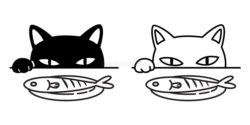 Garabato del ejemplo del personaje de dibujos animados de la comida del calicó del gatito del negro de los pescados de la pata de ilustración del vector