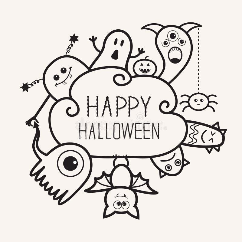 Garabato del esquema del countour del feliz Halloween Fantasma, palo, calabaza, araña, sistema del monstruo Frme de la nube Diseñ stock de ilustración