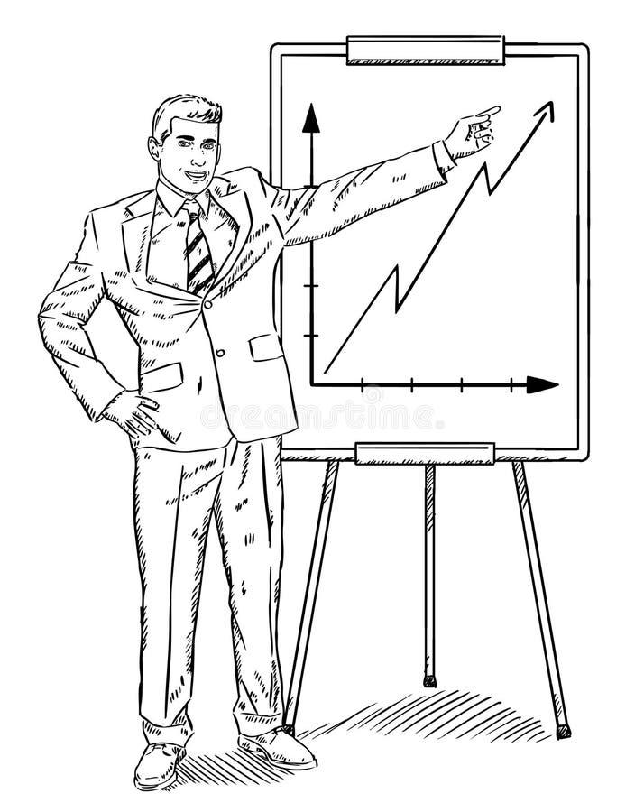 Garabato del estilo del bosquejo del hombre de negocios que muestra crecimiento de la compañía en flipchart stock de ilustración