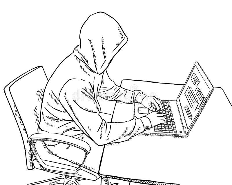 Garabato del estilo del bosquejo del pirata informático que se sienta delante de su escritorio y que trabaja en su ordenador port ilustración del vector
