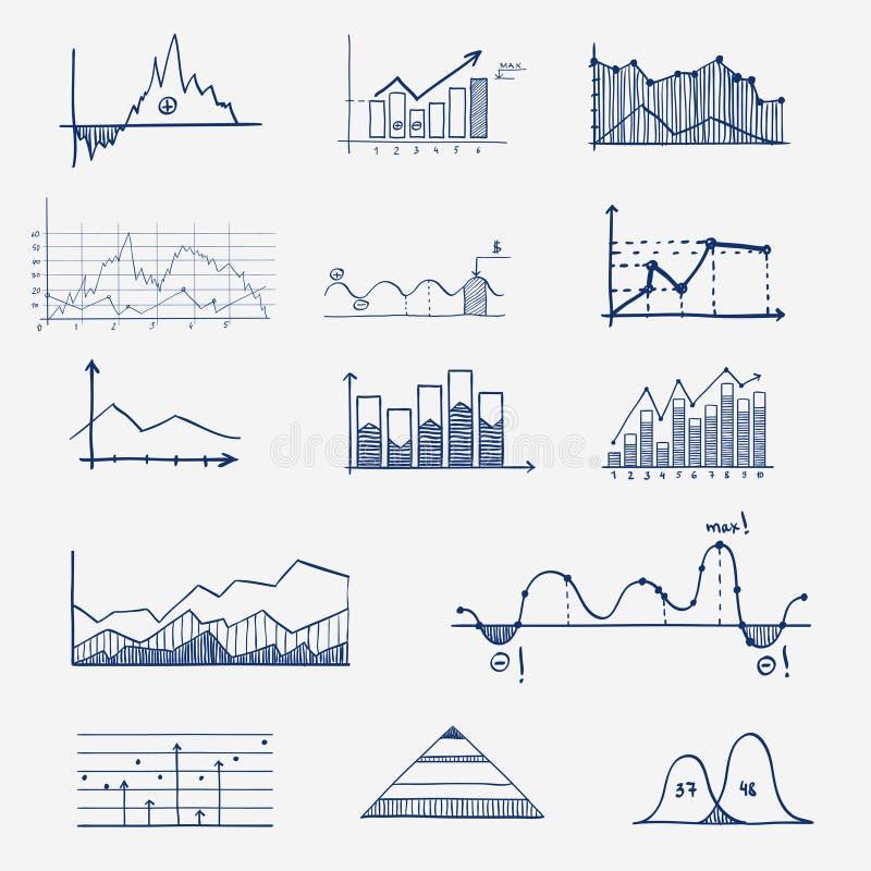 Garabato del infographics de las estadísticas de las finanzas del negocio ilustración del vector
