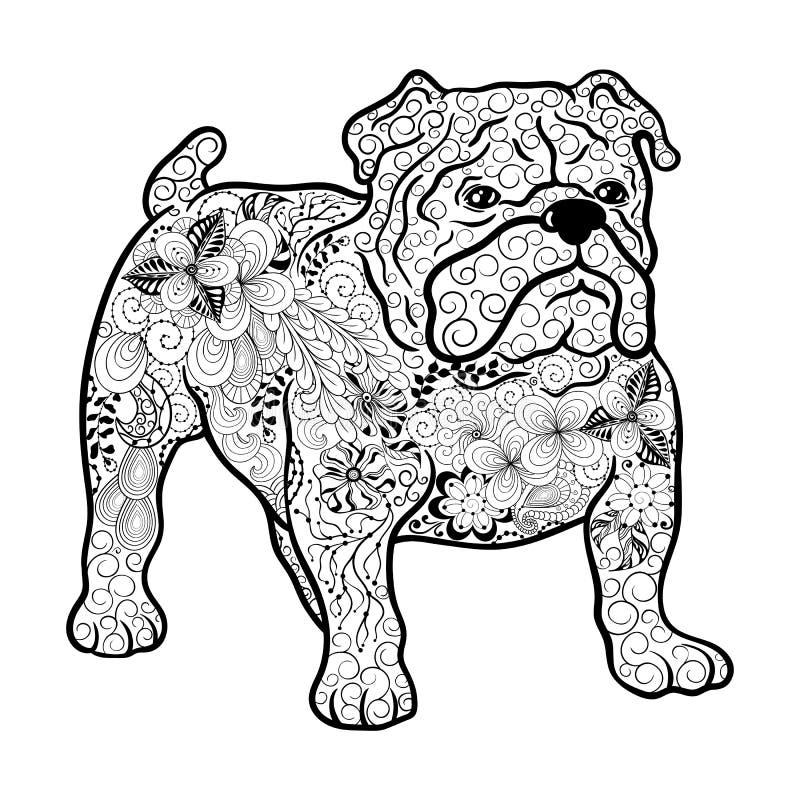 Garabato del perro del dogo francés ilustración del vector