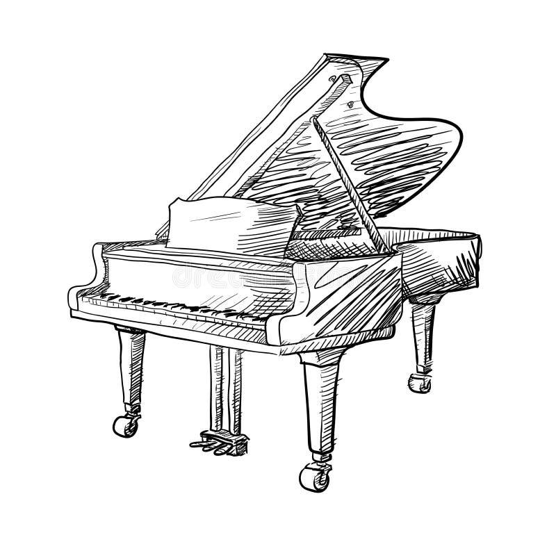 Garabato del piano de cola ilustración del vector