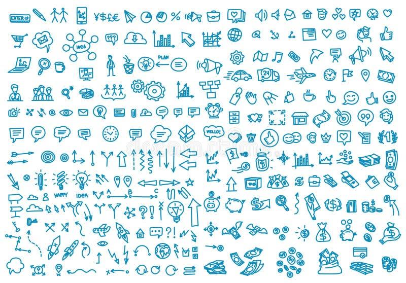 Garabato del sistema de la actividad económica del drenaje de la mano Presentación de las ideas del negocio Color del azul del fo libre illustration