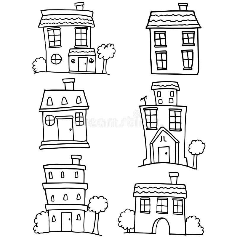 Garabato del sistema de la casa diverso ilustración del vector