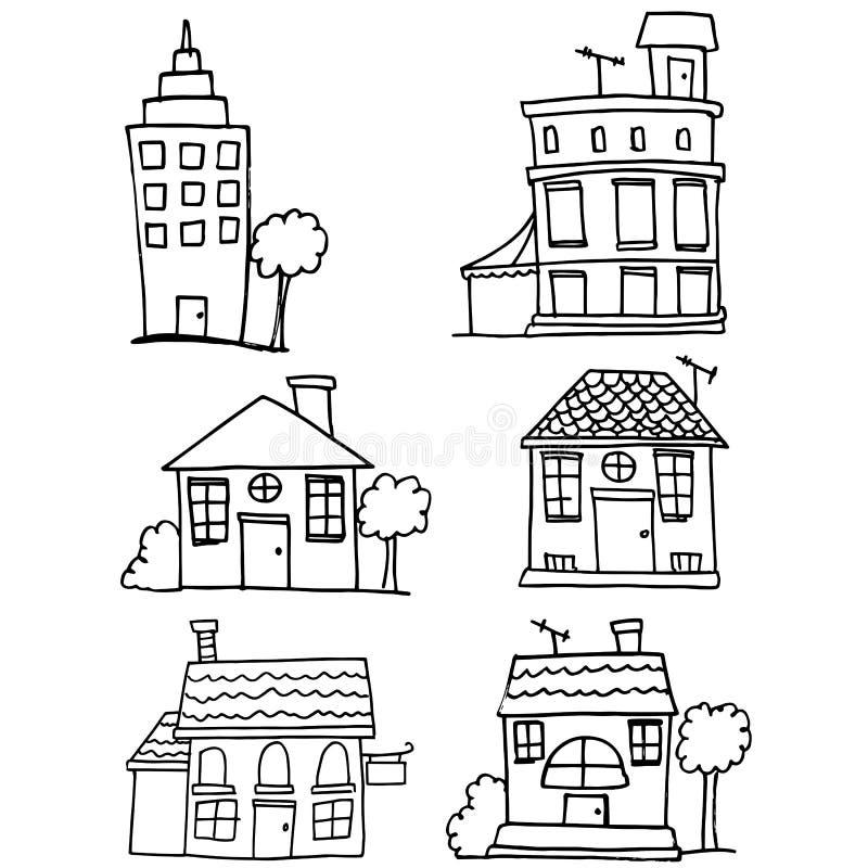 Garabato del sistema de la casa y del edificio stock de ilustración