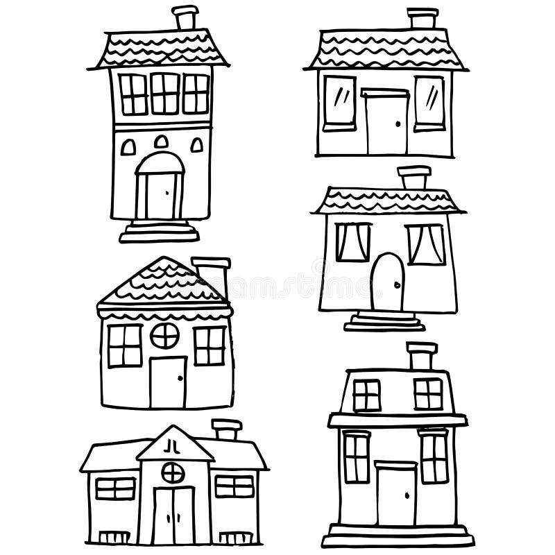 Garabato del sistema del tema de la casa stock de ilustración