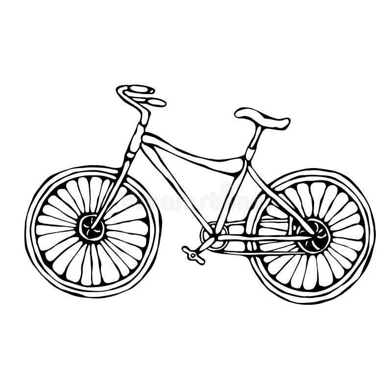Garabato del vector de la bicicleta o de la bici o bosquejo dibujado mano aislado ejemplo realista del estilo de la historieta ilustración del vector