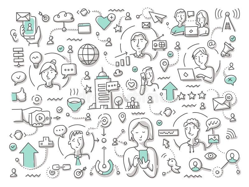 Garabato del vector del establecimiento de una red social libre illustration