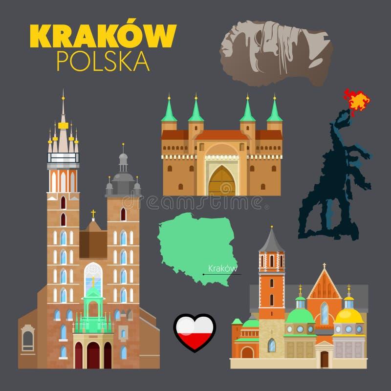 Garabato del viaje de Kraków Polonia con la arquitectura, el dragón y la bandera de Kraków ilustración del vector