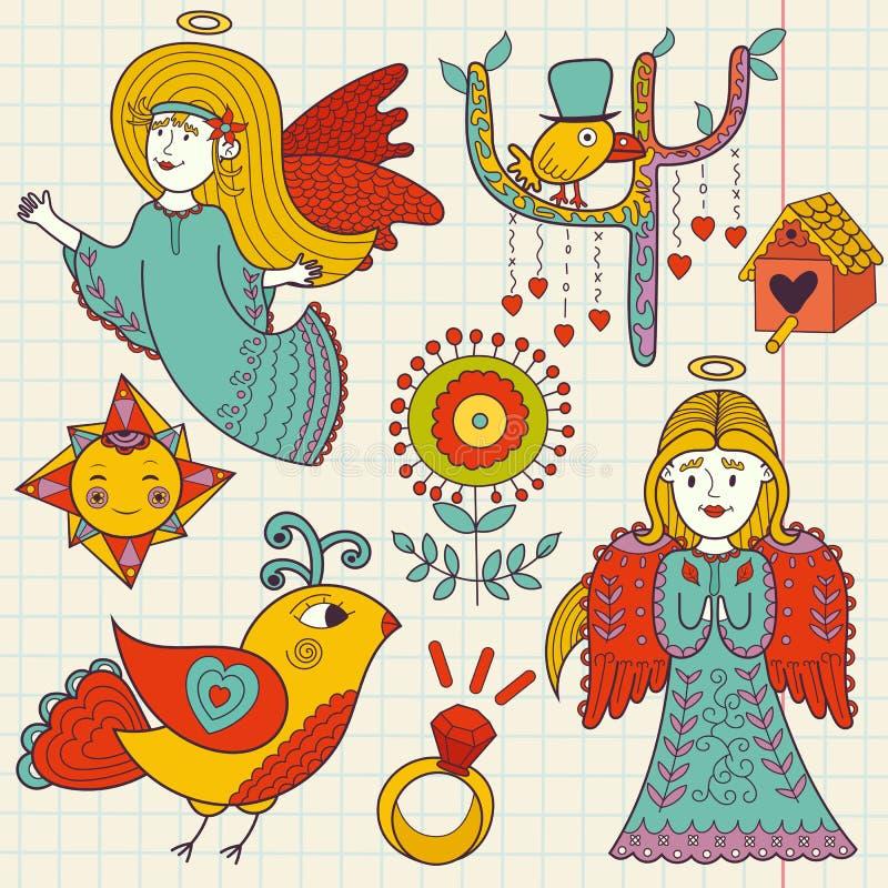 Garabato dibujado mano colorida de ángeles lindos y de pájaros libre illustration
