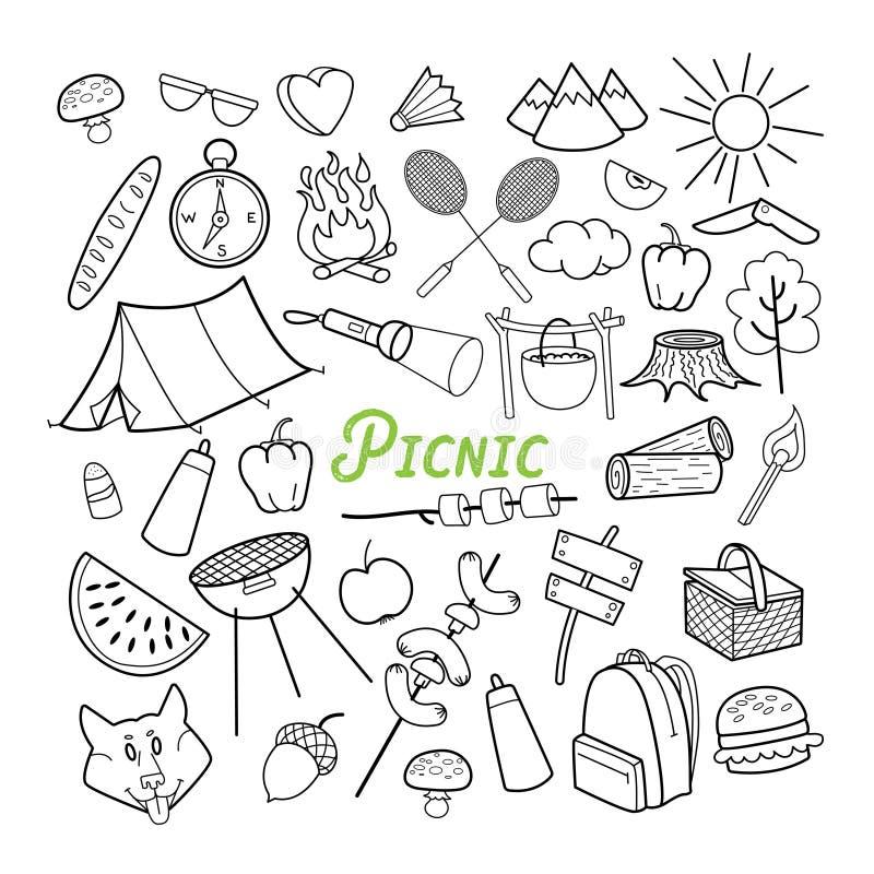 Garabato dibujado mano de la comida campestre Actividades al aire libre Comida, naturaleza, elementos resumidos que acampan stock de ilustración