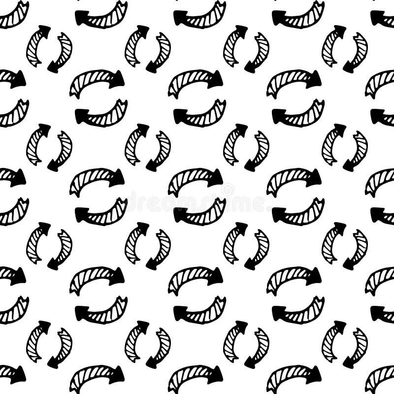 Garabato dibujado mano de la flecha Icono del estilo del bosquejo Elemento de la decoraci?n Aislado en el fondo blanco Dise?o pla stock de ilustración