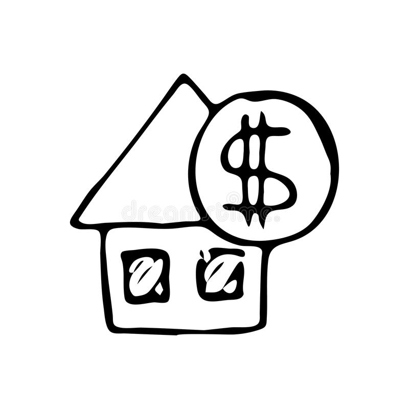 Garabato dibujado mano de la moneda de la casa Icono del dólar del bosquejo Decoración Ele ilustración del vector
