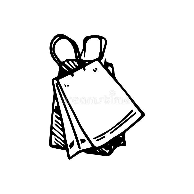 Garabato dibujado mano del bolso Icono del estilo del bosquejo Elemento de la decoraci?n Aislado en el fondo blanco Dise?o plano  libre illustration