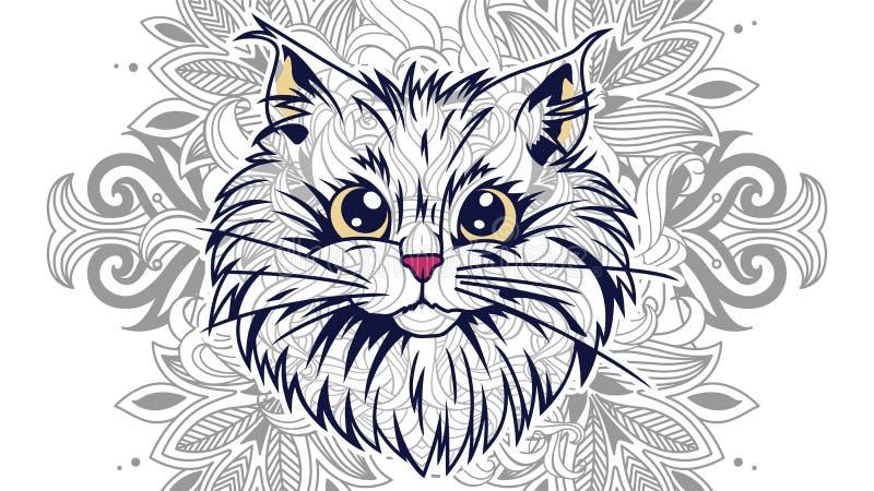 garabato dibujado mano del gato de la historieta para la página adulta del colorante fotos de archivo
