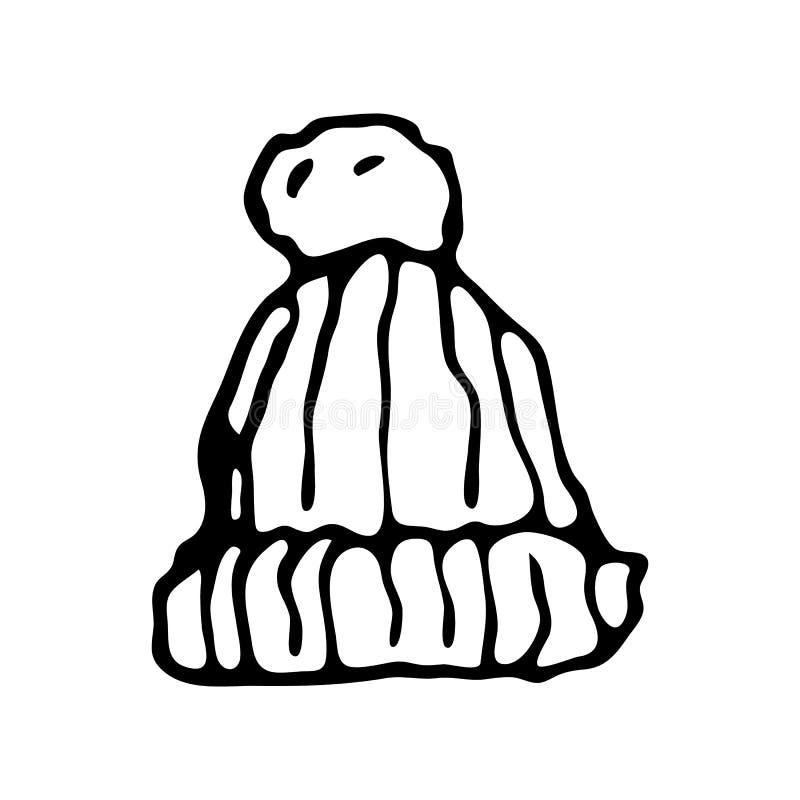 Garabato dibujado mano del sombrero del invierno Icono del invierno del bosquejo Elemento de la decoración Aislado en el fondo bl stock de ilustración