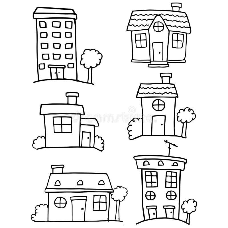 Garabato drenaje de la mano del sistema de la casa del diverso libre illustration