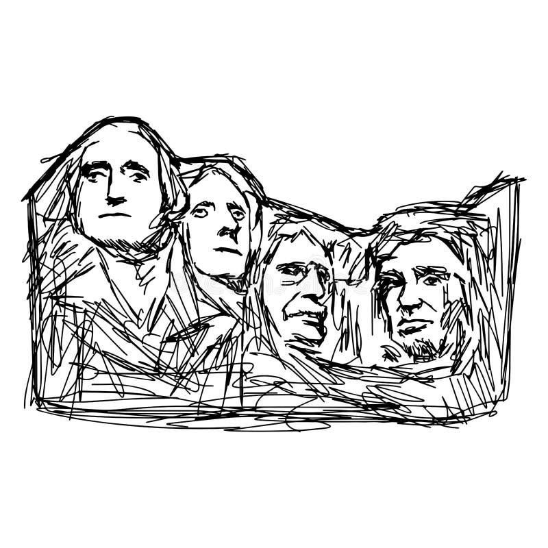 Garabato el monte Rushmore del ejemplo ilustración del vector