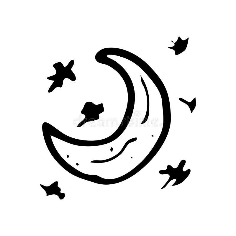 Garabato exhausto de la luna de la mano Icono del invierno del bosquejo Elemento de la decoración Aislado en el fondo blanco Ilus libre illustration