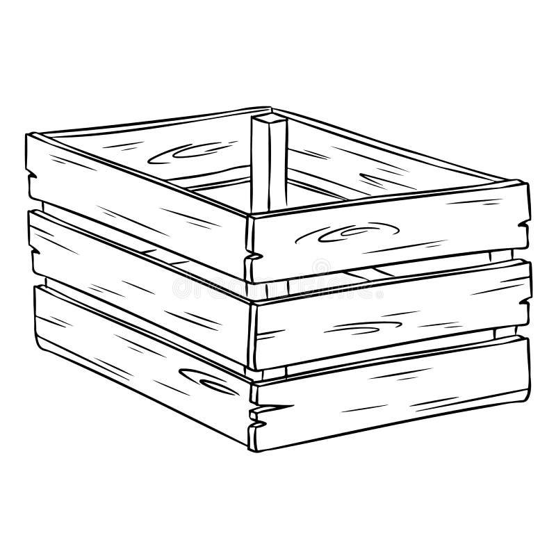 Garabato exhausto de la mano del bosquejo de la historieta de la caja de madera ilustración del vector