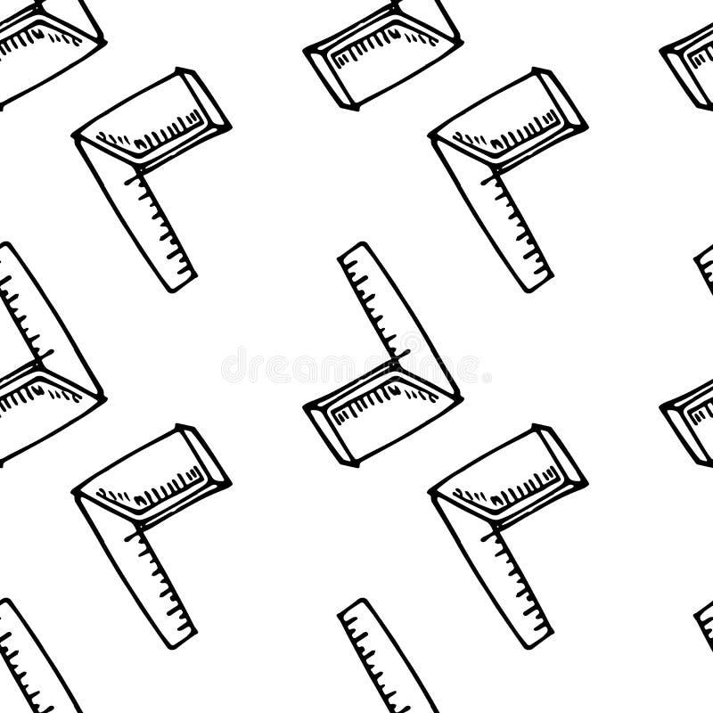 Garabato exhausto de la regla de plegamiento de la mano inconsútil del modelo Icono del estilo del bosquejo Elemento de la decora ilustración del vector