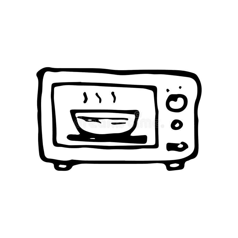 Garabato exhausto del horno de microondas de la mano Icono del estilo del bosquejo Elemento de la decoración Aislado en el fondo  ilustración del vector