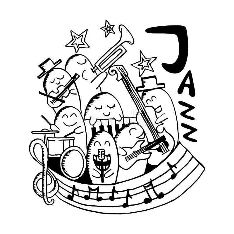 Garabato exhausto del monstruo de la mano de la música de jazz stock de ilustración