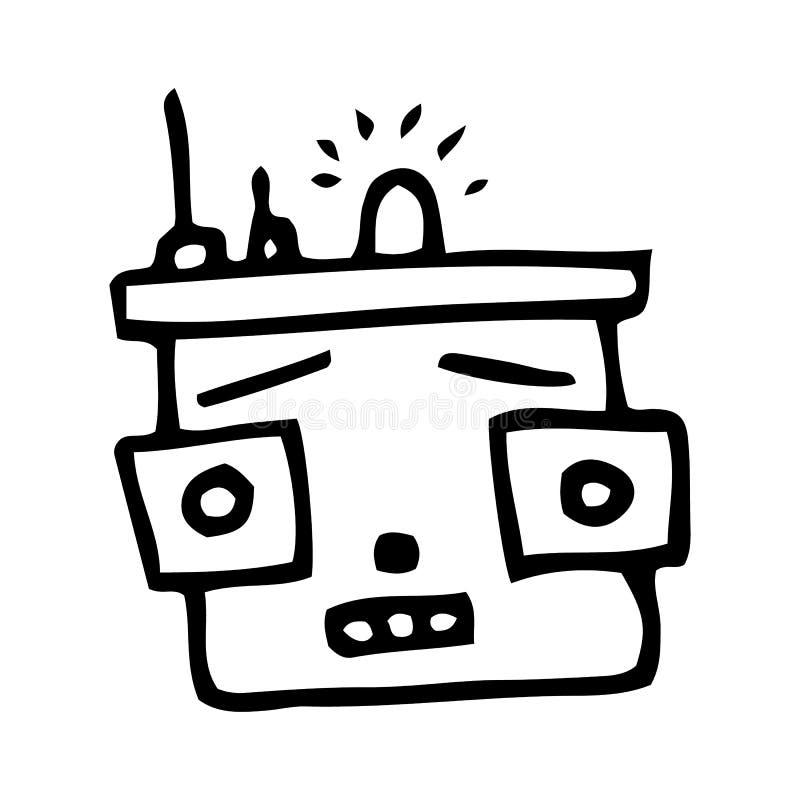 Garabato exhausto del robot de la mano Icono del estilo del bosquejo Elemento de la decoraci?n Aislado en el fondo blanco Dise?o  libre illustration