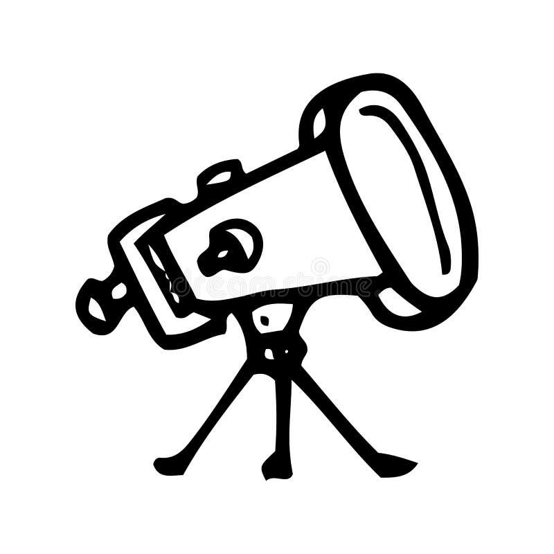 Garabato exhausto del telescopio de la mano Icono del estilo del bosquejo Elemento de la decoraci?n Aislado en el fondo blanco Di ilustración del vector