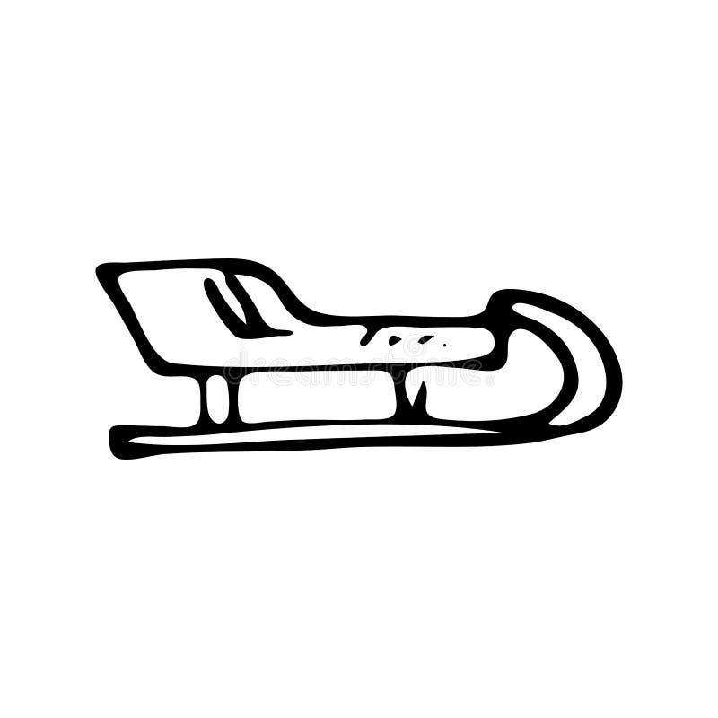 Garabato exhausto del trineo de la mano Icono del invierno del bosquejo Elemento de la decoración Aislado en el fondo blanco Ilus ilustración del vector