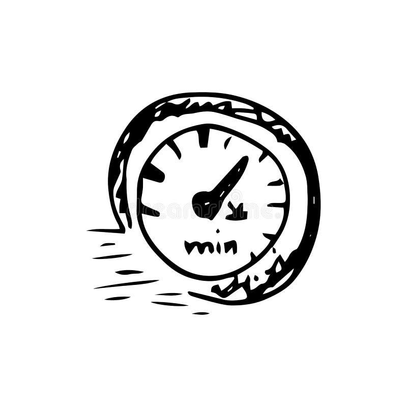 Garabato exhausto del velocímetro de la entrega de la mano Icono del estilo del bosquejo Elemento de la decoraci?n Aislado en el  ilustración del vector