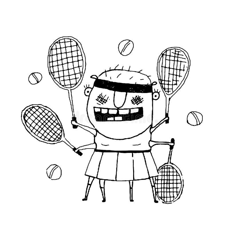 Garabato extraño divertido del esquema del monstruo del carácter del jugador de tenis libre illustration