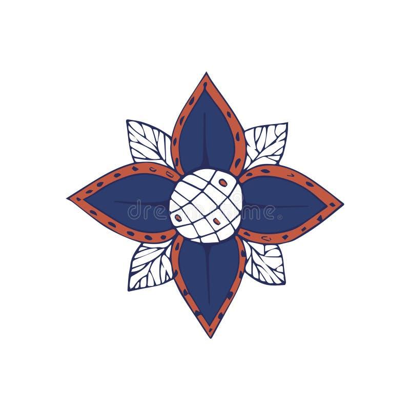 Garabato floral azul de la flor del fractal del clip art del vector del dibujo del ejemplo del amarillo espiral del color creativ stock de ilustración