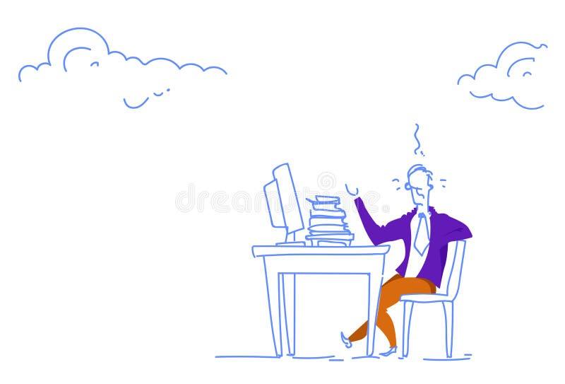 Garabato horizontal del bosquejo del lugar de trabajo trabajador del ordenador de proceso de la oficina del escritorio del hombre libre illustration